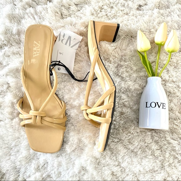 Zara Square Toe Heel Sandals with Knot Detail 8